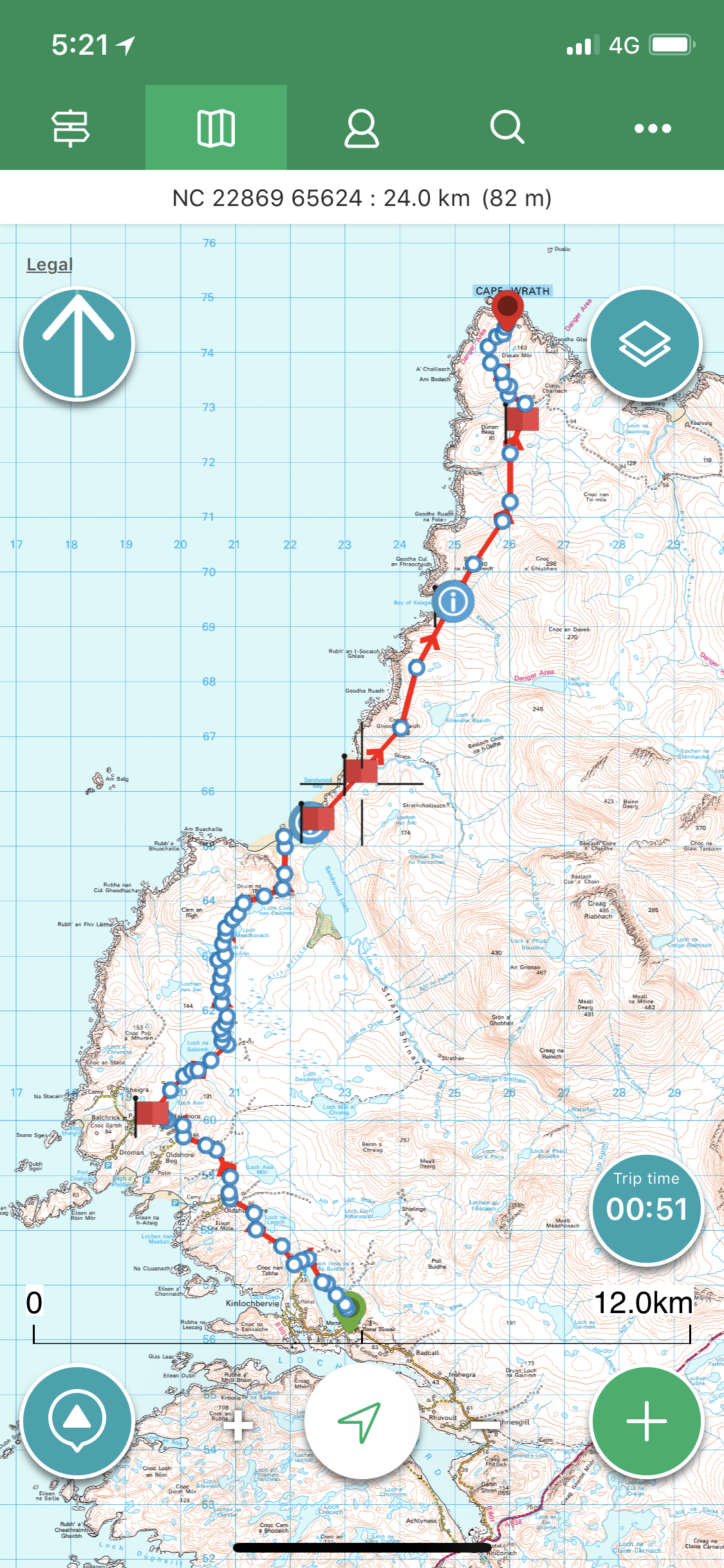GPS route map from Fort William to Cape Wrath, Scotland