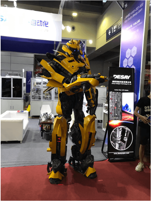 Yellow robot at entrance to CIOE 2019, China